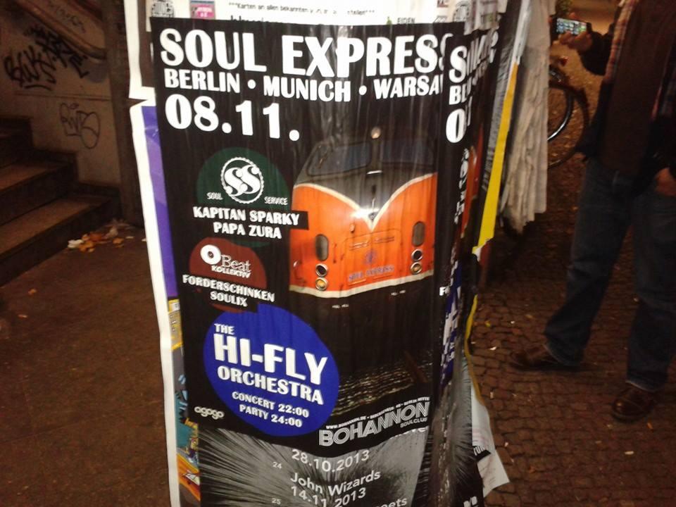 Plakat reklamujący imprezę Cpt. Sparky i Papa Zura - Soul service - w Berlinie.