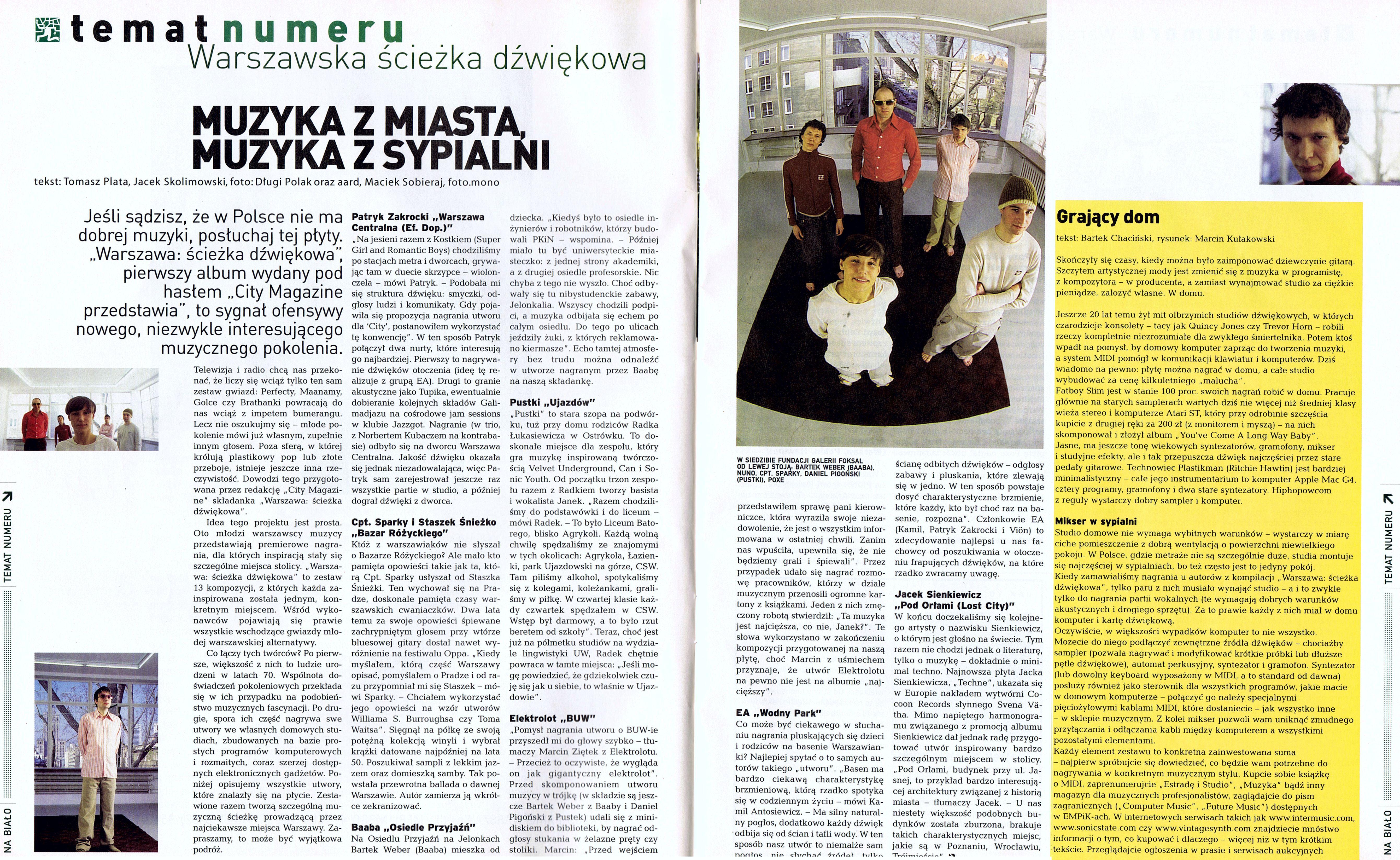 """Artykuł o kompilacji """"Warszawa Ścieżka Dźwiękowa"""" z pisma City"""