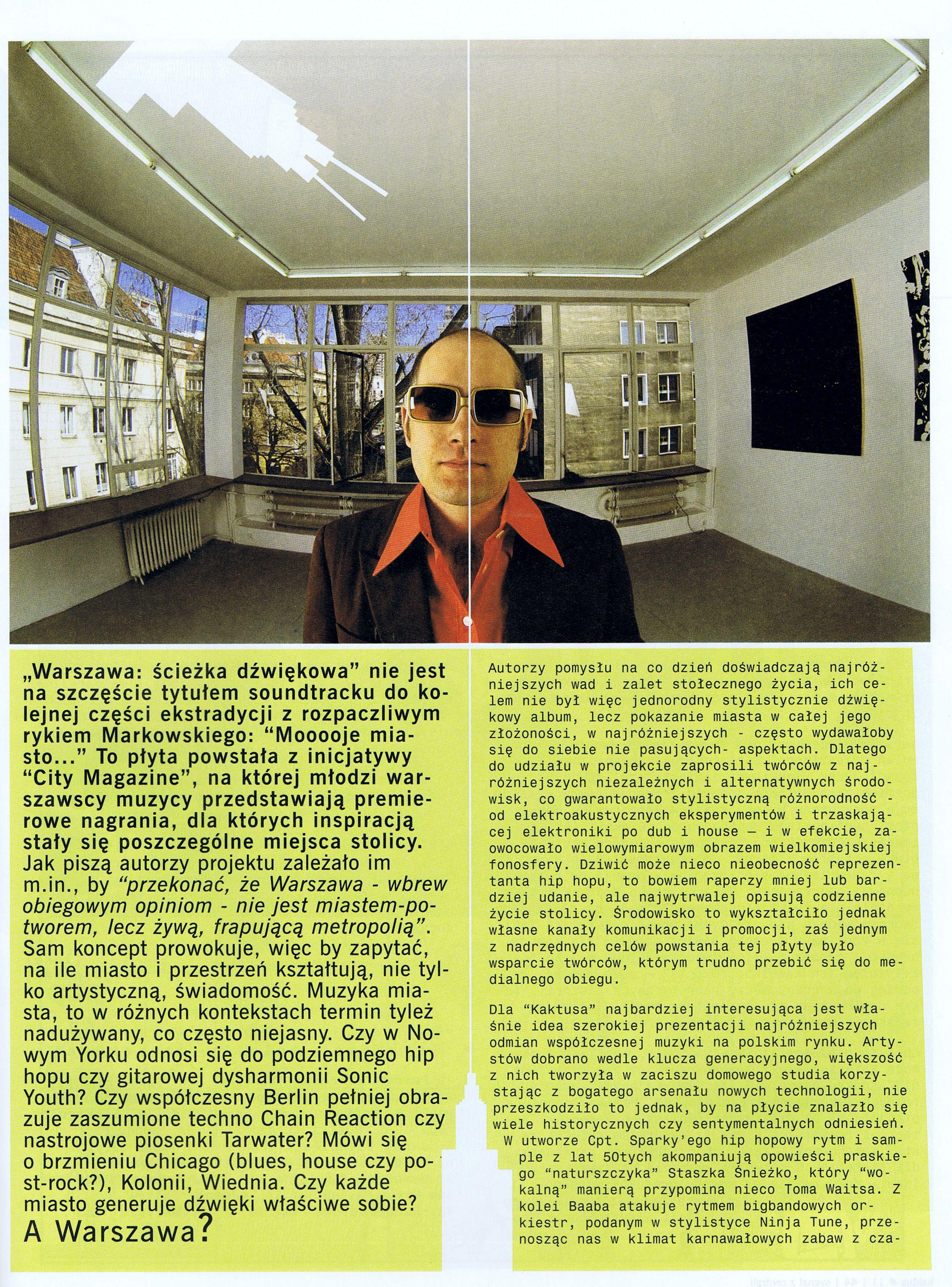 """Artykuł o kompilacji """"Warszawa Ścieżka Dźwiękowa"""" z pisma Kaktus Str.2"""